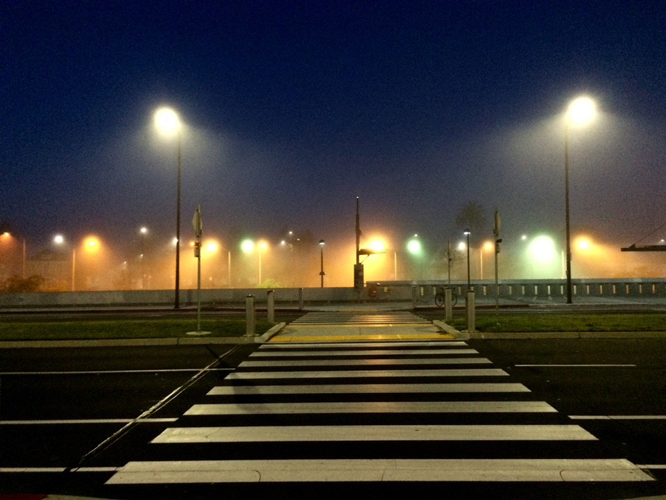 Crosswalk in front of Ed Roberts Campus on foggy morning
