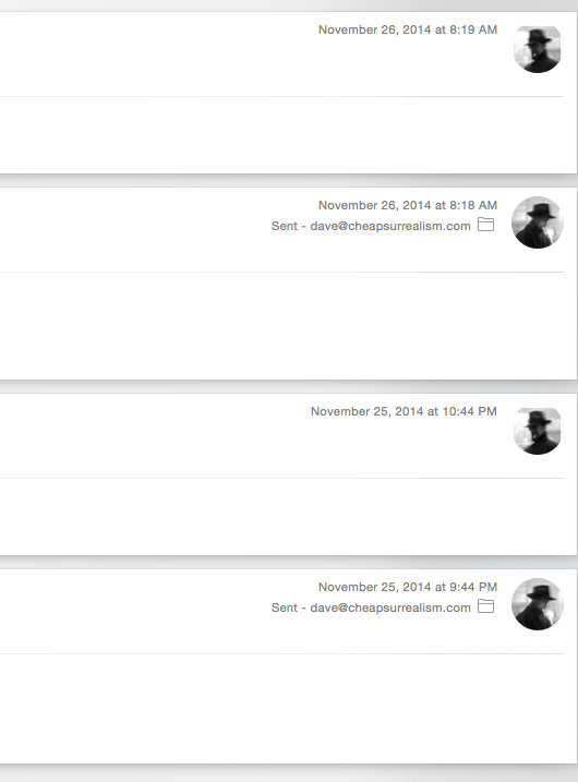 Screenshot of emails
