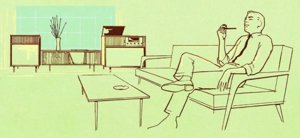 A drawing of a man sitting on a couch smoking a pipe. A console stereo is in the background. It looks like the 1950s.